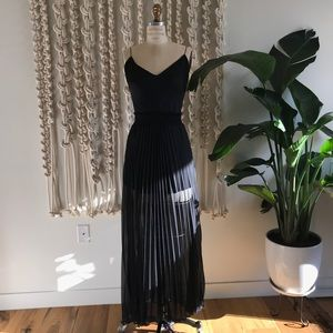 Arden B Sheer Black Pleated Maxi Skirt Sexy
